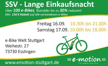 Sommerschlussverkauf e-motion e-Bike Welt Stuttgart