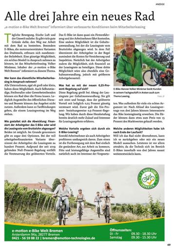 Volker Minkmar - e-Bike Leasing Experte im Interview mit dem Stadtmagazin Bremen