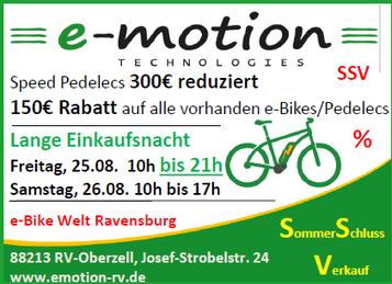 Sommerschlussverkauf in der e-motion e-Bike Welt Ravensburg