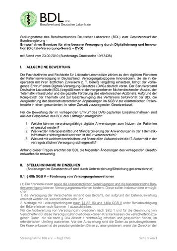 BDL: Stellungnahme zum Digitale-Versorgung-Gesetz