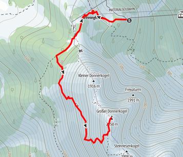 Route von der Gosaukammbahn auf den Gipfel des Großen Donnerkogel
