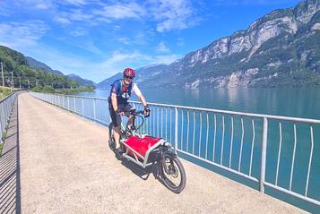 Auf dem Lasten e-Bike Load von Riese und Müller unterwegs