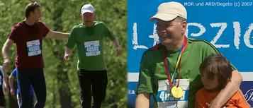 Roland und Martin nehmen mit einer Laufgruppe am Leipzig-Marathon teil