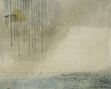 雨と月影 モノタイプ 油性木版 65x54cm