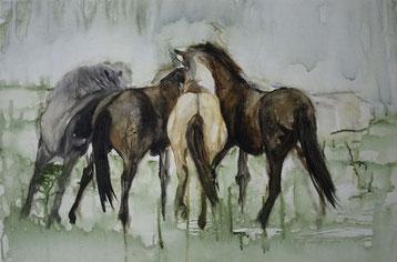 Herde, Acryl auf Baumwollgewebe, 40 x 60 cm, 2011
