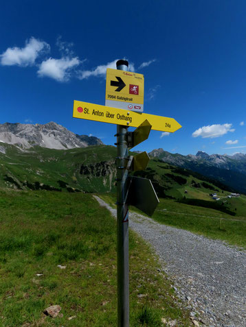 Wegweiser nach St Anton am Arlberg