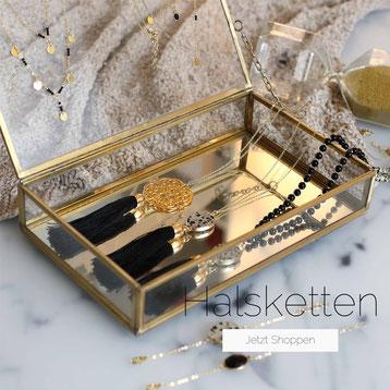 Shoppe unsere handgemachten Halsketten aus hochwertigen Materialien, ob vergoldet, versilbert oder aus 925 Silber.