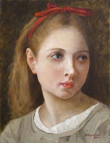 Татьяна Казакова. Девушка с красной лентой. 2020