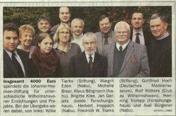 Spendenübergabe am16.11.2012   Foto: Wilhelmshavener Zeitung