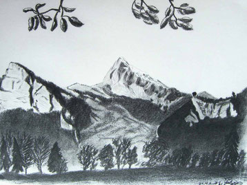 Bild:Gonzen,Maienfeld,Fläscher Berg,Bäume,Berg,d-t-b.ch,d-t-b,David Brandenberger,Biber,dave the beaver,Kohlebild,Malerei,Kohle,Gauschla