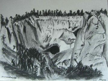 Kohlezeichnung von der Rheinschlucht, Ruina Aulta, unterhalb von Flims mit einer Naturhöhle.