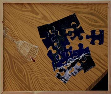 Bild:Puzzle,Weinglas,Rotwein,Tisch,McKinley,Denaly,Berg,Schnee,Tanne,Wald,Todd,Salat,Glas,Wein,Holz,Maserung,Nordlicht,d-t-b.ch,d-t-b,David Brandenberger,Biber,dave the beaver,Ölbild,Malerei,Ölfarbe,