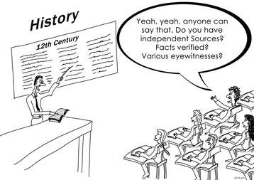 Cartoon with teacher and schoolars