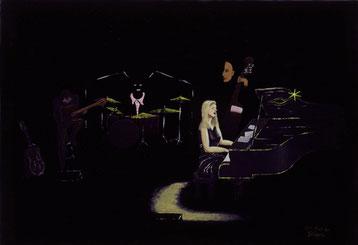 Bild:Cool,Jazz,Diana,Krall,Konzert,Musik,Piano,Schwarz,d-t-b.ch,d-t-b,David Brandenberger,Biber,dave the beaver,Ölbild,Malerei,Ölfarbe,
