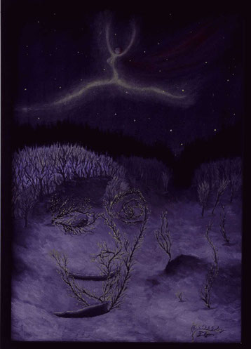 Bild:Troll,älva,aurora,Elfe,Nordlicht,Doppelbild,Ölbild,gemalt,Winter,Schnee,Nacht,Lappland,Schweden,David Brandenberger,d-t-b.ch,Biber,