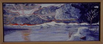 Bild: Erster Schnee,Ölbild,Schnee,Virihaure,See,Wolken,Sonne,Sonnenstrahlen,Sonnenuntergang,verschneit,gemalt,Schweden,Lappland,Padjelanta,Nationalpark,David Brandenberger,Biber,d-t-b.ch,