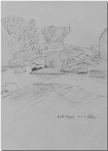 Bild:Valle Maggia,Maggiatal,Tessin,Fluss,Bleistift,Skizze,David Brandenberger,d-t-b.ch,d-t-b,