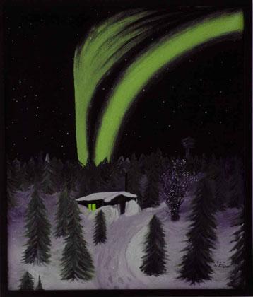 Bild:Nordlicht,Aurora,Ölbild,Schnee,Tannen,Haus,Weg,d-t-b.ch,David Brandenberger,Biber,