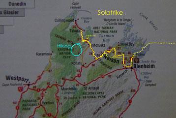 Karte vom Nordteil der Südinsel Neuseelands