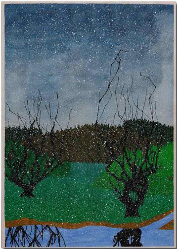 Bild:Schneefall,Bäume,Fluss,Landschaft,Wasserfarbe,Schule,David Brandenberger,d-t-b.ch,d-t-b,