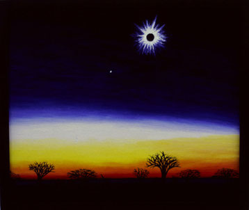 Bild:Eclipse,Sonne,Finsternis,Zambia,Sambia,Korona,Mond,Dämmerung,d-t-b.ch,d-t-b,David Brandenberger,Biber,dave the beaver,Ölbild,Malerei,Ölfarbe,Sonnenfinsternis,Afrika,
