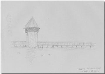 Bild:Kappelerbrücke,Nebel,Luzern,Bleistift,Skizze,David Brandenberger,d-t-b.ch,d-t-b,