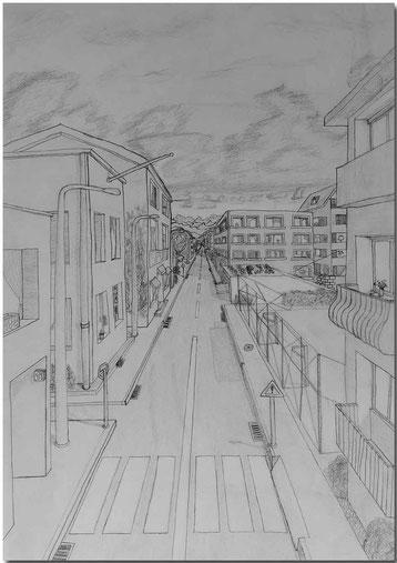 Bild:Perspektive,Schule,Bleistift,Zeichnung,Strasse,Häuser,David Brandenberger,d-t-b.ch,d-t-b,