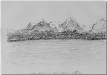 Bild:Eiger,Mönch,Jungfrau,Bleistift,Skizze,Neuenburgersee,David Brandenberger,d-t-b.ch,d-t-b,
