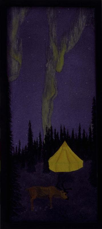 Bild: Climax,Ölbild,gemalt,Doppelbild,Nordlicht,Rentier,Zelt,Winter,Schnee,Nacht,Wald,Frau,Akt,Lappland,Geheimnis,Versteck,David Brandenberger,Biber,d-t-b.ch,
