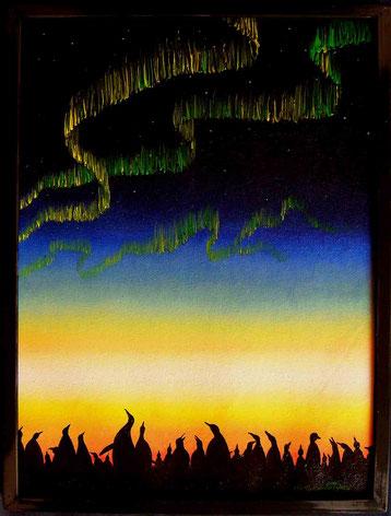 Bild:Pinguine,Kolonie,Aurora,Australis,Südlicht,Abend,Dämmerung,Himmel,Nordlicht,d-t-b.ch,d-t-b,David Brandenberger,Biber,dave the beaver,Ölbild,Malerei,Ölfarbe,