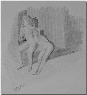 Bild:Schlaf,Freundinnen,Bleistift,Akt,nude,Wellness,Sauna,David Brandenberger,d-t-b.ch,d-t-b,
