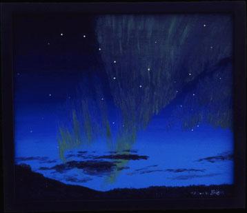 Bild:Grosser Wagen,Sternbild,Sterne,Nordlicht,Abend,Himmel,Skagway,Alaska,d-t-b.ch,d-t-b,David Brandenberger,Biber,dave the beaver,Ölbild,Malerei,Ölfarbe,