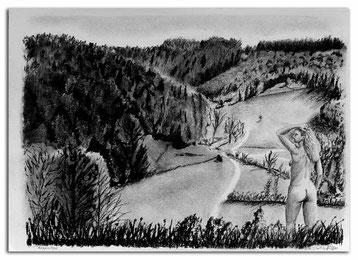 Bild:Reppischtal,Urdorf,Kohlezeichnung,Kohle,Zeichnung,Akt,Frau,Rücken,David Brandenberger,Biber,dave the beaver,d-t-b.ch,www.d-t-b.ch,