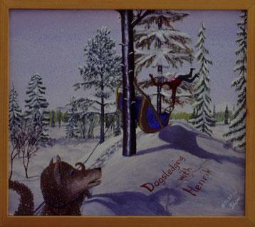 Bild: Dogsledging with Henrik,Ölbild,Husky,Wald,Hundeschlitten,Unfall,Schnee,Bäume,Tag,lustig,David Brandenberger,Biber,d-t-b.ch,