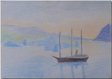 Bild:Schiff,Antarktis,Schule,Zeichnung,Farbstift,David Brandenberger,d-t-b.ch,d-t-b,