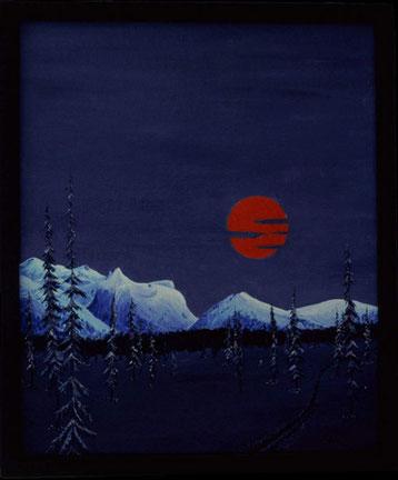 Bild:Orange Moon,Ölbild,Mond,orange,Berge,Wald,Doppelbild,Frau,Akt,Schnee,Nacht,Norden,Lappland,David Brandenberger,Biber,d-t-b.ch,