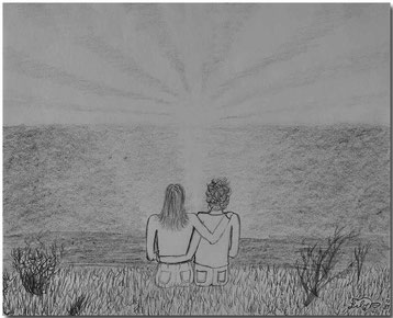 Bild:Zeitvertreib,Bleistift,Zeichnung,Sonnenuntergang,Meer,David Brandenberger,d-t-b.ch,d-t-b,
