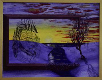 Bild: Fingerprint,Ölbild,Fingerabdruck,Portrait,Landschaft,Schnee,See,Biberbau,Baum,Akt,Frau,Nackt,Doppelbild,Bilderrahmen,gemalt,Wolken,Sonnenuntergang,Sonne,Hand,geborgen,David Brandenberger,Biber,d-t-b.ch,
