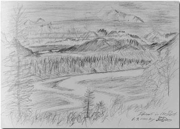 Bild:Denali,Dust,Nebel,Alaska,USA,Bleistift,Skizze,Landschaft,Fluss,David Brandenberger,d-t-b.ch,d-t-b,
