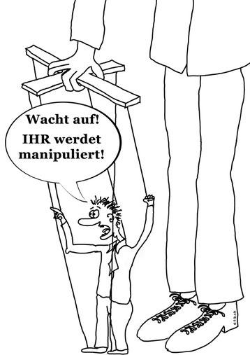 Cartoon mit Mann an Puppenfäden.