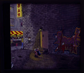 Bild: Break down,Ölbild,Zusammenbruch,Stadt,Abend,Hinterhof,Sommer,Grafitti,Gitarrist,Bar,Restaurant,Licht,gebrochen,Mauer,Strasse,David Brandenberger,Biber,d-t-b.ch,
