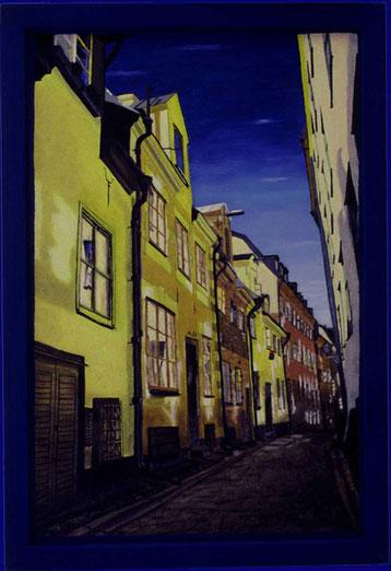 Bild:Prästgatan No.50,Priestergasse,Ölbild,Ölfarbe,Schweden,Stockholm,Gamla Stan,Altstadt,Häuser,Tag,Strasse,Gasse,Blau,gestohlen,vermisst,David Brandenberger,Biber,d-t-b.ch,