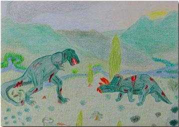 Bild:Dinosaurier,Schule,Farbstift,Zeichnung,David Brandenberger,d-t-b.ch,d-t-b,