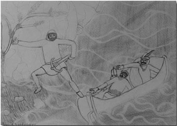 Bild:Tell,Sprung,Tellsplatte,Vierwaldstättersee,Schule,Bleistift,Zeichnung,David Brandenberger,d-t-b.ch,d-t-b,