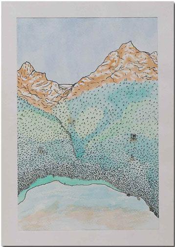Bild:Voralpsee,Tusche,Wasserfarbe,Schule,David Brandenberger,d-t-b.ch,d-t-b,