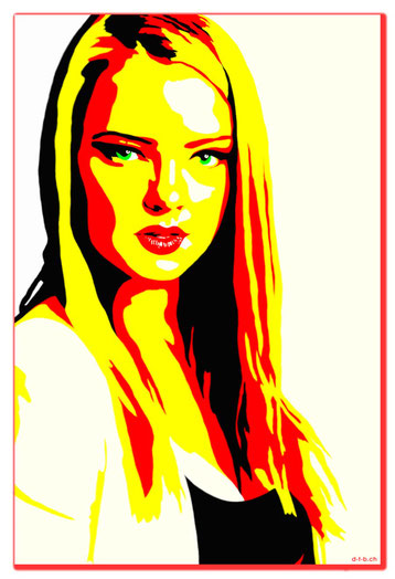 Bild:Digital Art 0008,Digital Art,Digitalart,Digital painting,Portrait,Woman,red,yellow,black,white,David Brandenberger,d-t-b.ch,