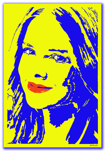 Bild:Digital Art 0007,Digital Art,Portrait,Woman,lächeln,gelb,blau,rot,weiss,David Brandenberger,d-t-b.ch,