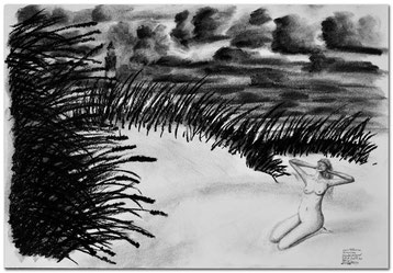 Bild:Leuchtturm,Amrum,Insel,Düne,Akt,Wolken,Sandhafer,Sand,Frau,d-t-b.ch,d-t-b,David Brandenberger,Biber,dave the beaver,Kohlebild,Malerei,Kohle,Kohlezeichnung,