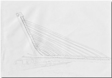 Bild:Puente del Alamillo,Sevilla,Spanien,Bleistift,Skizze,Schlecht,David Brandenberger,d-t-b.ch,d-t-b,