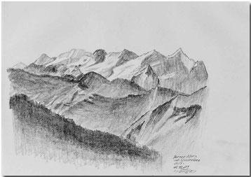 Bild:Berner Alpen,Stanserhorn,Bleistift,Skizze,David Brandenberger,d-t-b.ch,d-t-b,